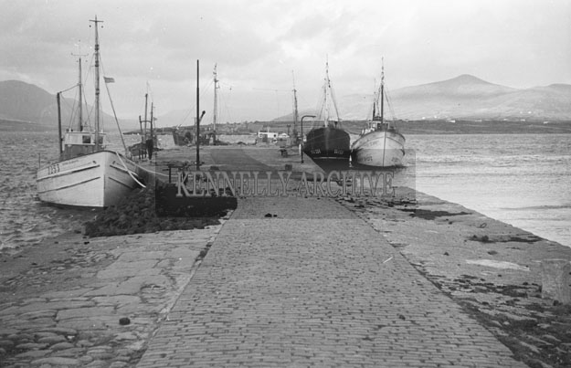 1953; A Scenic View Of Boats At Valentia Pier.
