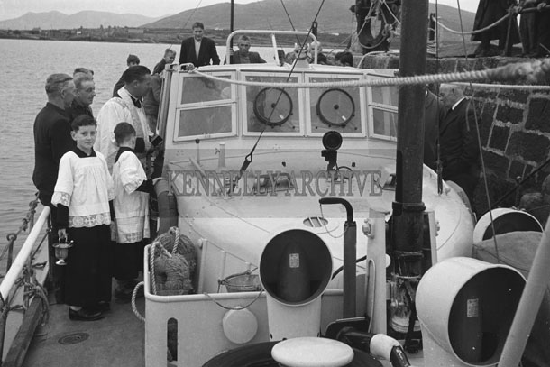 1953; The Blessing Of The Rowland Watts Life Boat At Valentia Pier.