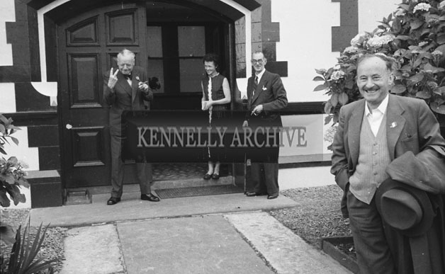 1953; People Standing Outside The Royal Hotel On Valentia Island.