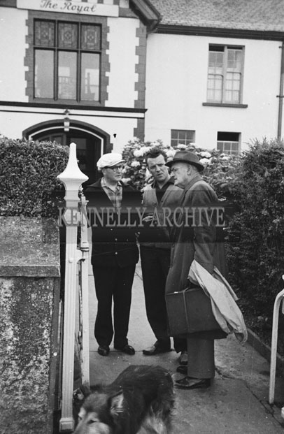 1953; Eamonn Andrews and friends Standing Outside The Royal Hotel On Valentia Island.