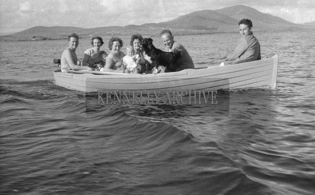 1953; 1953; A Group Of People And A Dog Enjoying Themselves On A Boat Trip Off Valentia Island.