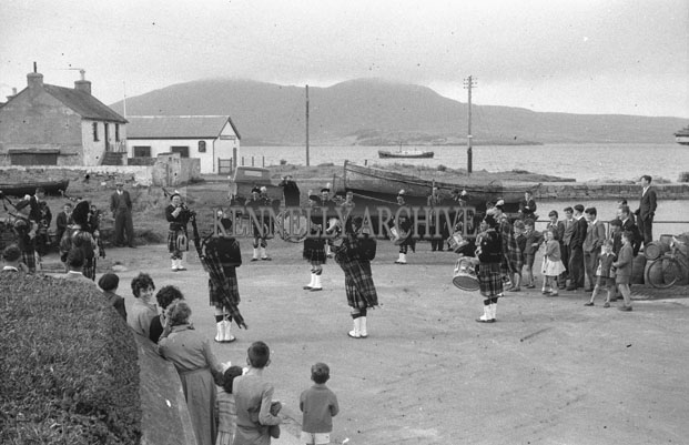 1953; The Millstreet Pipe Band On Valentia Island.