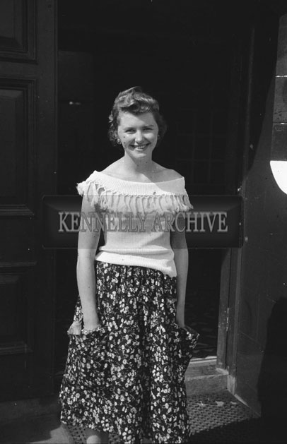 1953; A Lady Posing For The Camera Outside The Royal Hotel On Valentia Island.