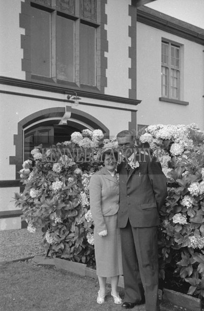 1953; A Wedding Couple Posing For The Camera Outside The Royal Hotel On Valentia Island.
