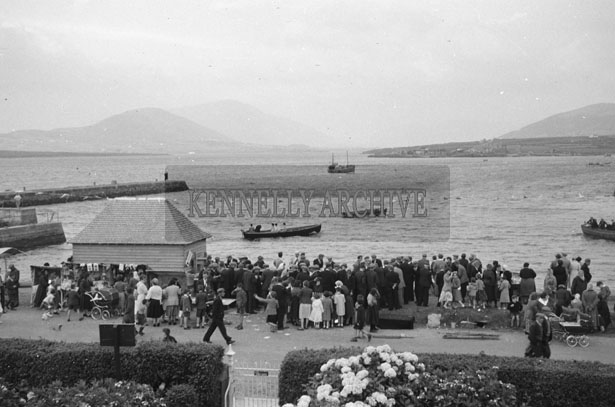 1953; A Busy Scene During Market Day On Valentia Island Pier.