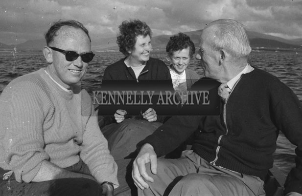 1953; Four People Enjoying Themselves On A Boat Trip Off Valentia Island.