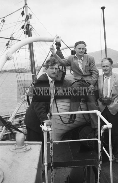 1953; Three Men On A Boat Pose For The Camera At Valentia Island.