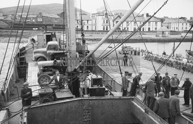 1953; A Photo Of A Boat And Crew At Valentia Pier.
