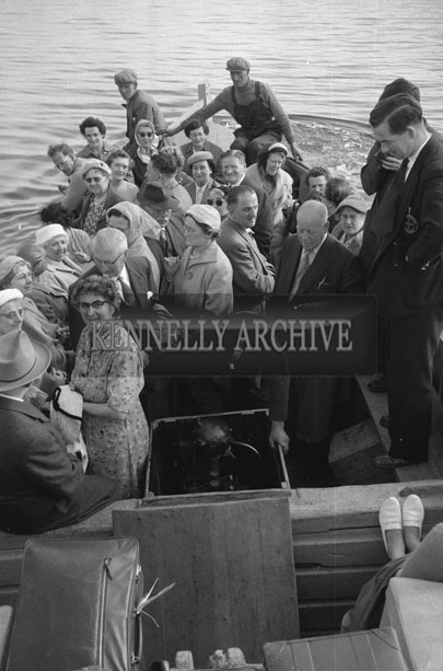 1953; A Photo Of The People On The Ferry At Valentia Pier.