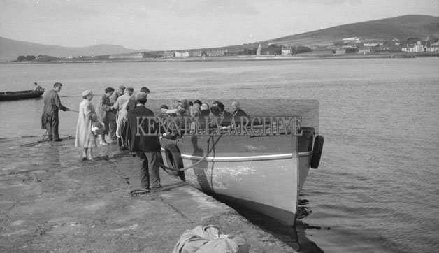 1953; A Photo Of People Waiting To Board The Ferry At Valentia Pier.