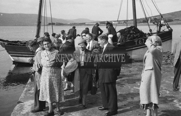 1953; A Photo Of People Waiting For The Ferry At Valentia Pier.