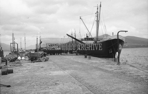1953; A Photo Of A Ship Docked At Valentia Pier.
