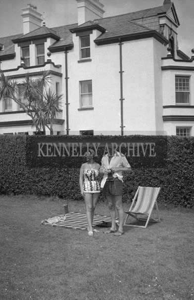 1953; Television star Eamon Andrews and his wife Grainne Posing For The Camera In The Garden Of The Royal Hotel On Valentia Island.