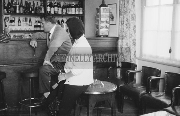 1953; Television star Eamonn Andrews in the bar of The Royal Hotel Valentia.