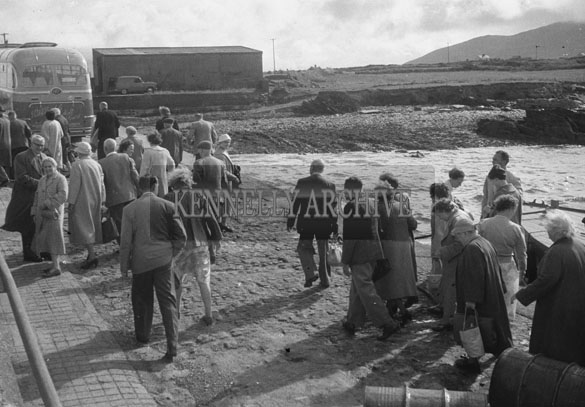1953; A Photo Of A Bus Tour At Valentia Island Pier.