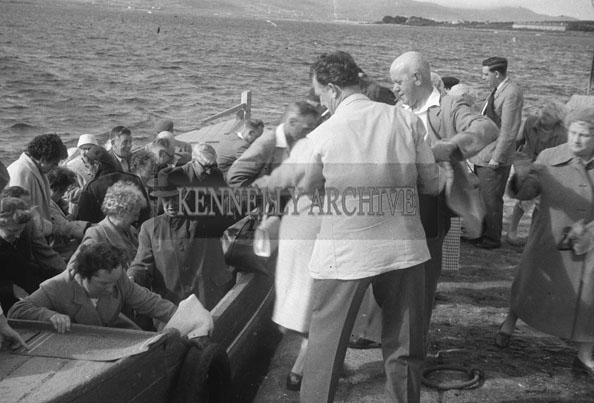 1953; People Getting On/Off The Valentia Island Ferry.
