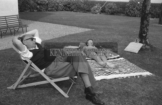 1953; A Photo Of A Couple Relaxing In The Garden Of The Royal Hotel On Valentia Island.