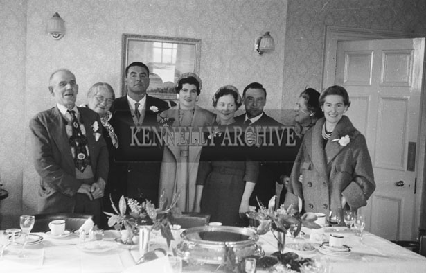 1953; A Wedding Group Pose For The Camera At A Wedding Reception At The Royal Hotel On Valentia Island.