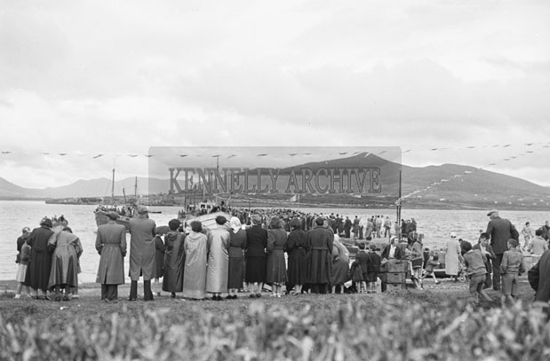 1953; A Photo Of A Crowd Of People On Valentia Island Pier.