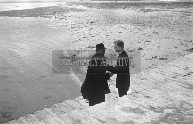 1953; A Photo Of Two Priests At The Pier After Arriving At Valentia Island By Ferry.