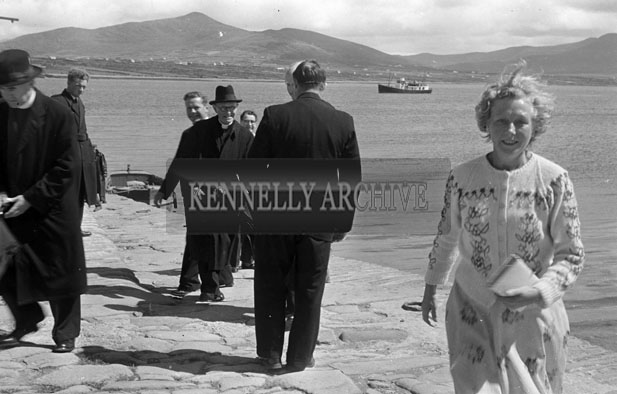 1953; A Photo Of Priests At The Pier After Arriving At Valentia Island By Ferry.