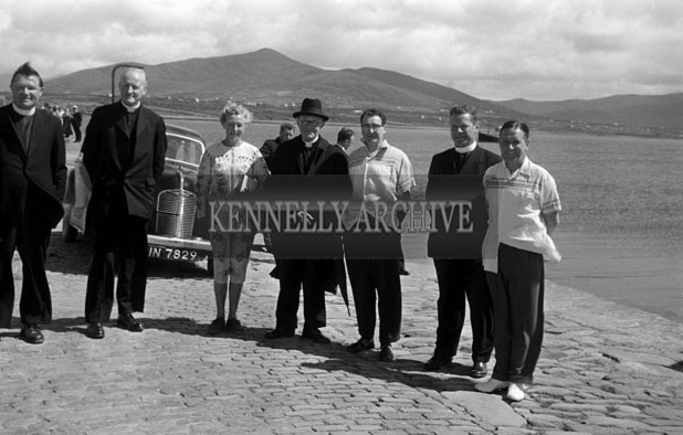 1953; A Photo Of Priests And A Group At The Pier After Arriving At Valentia Island By Ferry.