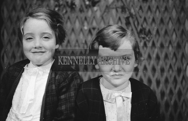 1953; A Studio Photo Of Two Young Girls.