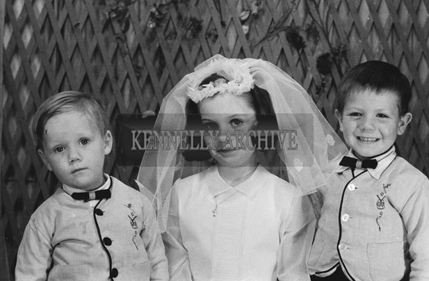 1953; A Studio Photo of Caragh Evans and her Brothers on her First Holy Communion.