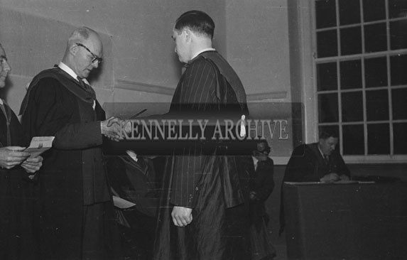 13th February 1954; A Social and Economic Science graduate receives his diploma in the Central Technical School in Tralee.