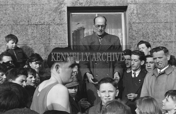 7th February 1954; The Presentation Of The Trophy At Kerins O'Rahillys Annual Cross-Country Race. Winner Was Michael Kerins. The Cup Was Presented By Richard Eager.