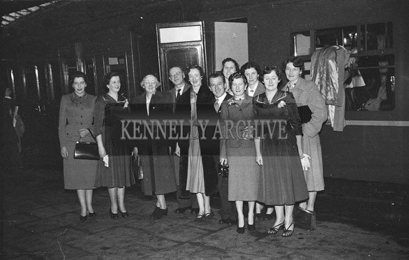 10th February 1954; The Wedding of Michael Fleming And Mary Mulvey, Both Chemists From Killarney. The Event Took Place In Cork. Well-Wishers Came the Train Station To See The Happy Couple Off.