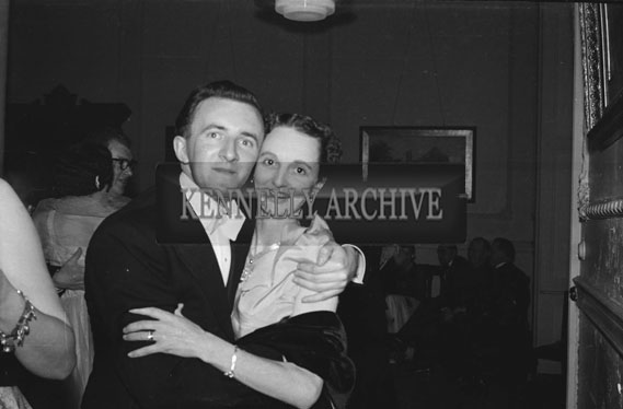 January 1954; Derry O'Rourke and Mary Fitzmaurice Posing At The Golf Dress Dance And Dinner In Killarney.