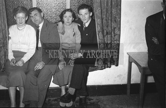 February 1954; People enjoying the night at The Kerins O'Rahillys Social in The Meadowlands Hotel, Tralee. The social was held to celebrate the club's 1953 Senior County Championship win against Shannon Rangers. The final was held on the 20th September 1953 in Austin Stack Park, where the Strand Road team defeated Shannon Rangers 1-4 to 0-5.