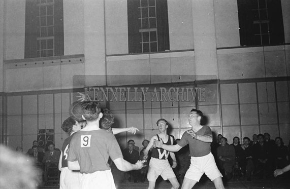 February/March 1954; Action Shots From A Basketball League At The CYMS Hall In Tralee.