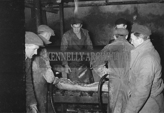 March 1954; Employees Hard At Work At The CWS Bacon Factory In Tralee.