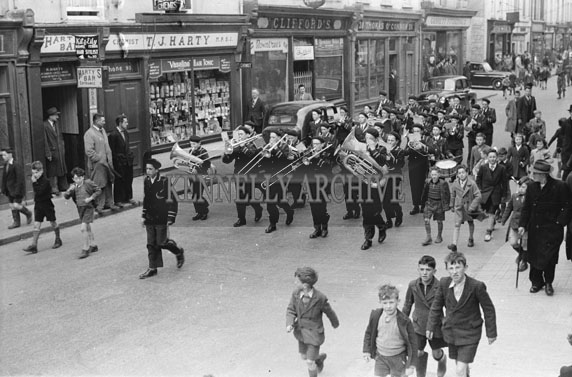 21st April 1954; St Joseph's Boy Band At An Tostal Parade Easter Monday In Tralee.