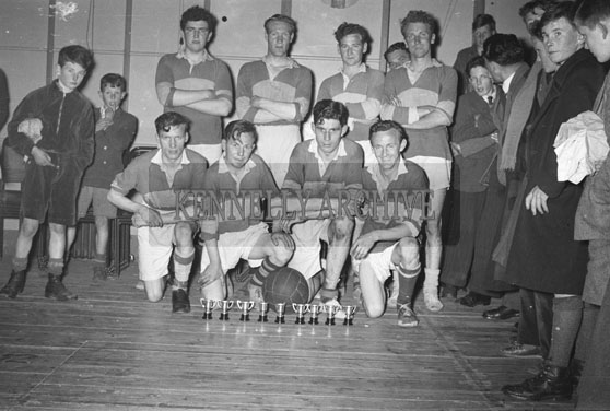 May 1954; A Team Posing For The Camera With Their Trophies At An Tostal Basketball Final In Tralee.
