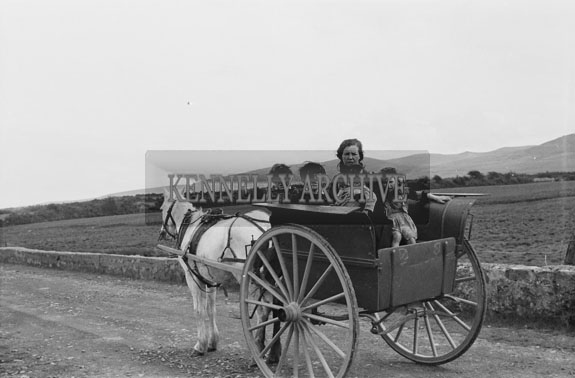 May 1954; A Scenic Photo Of A Group On A Horse And Carriage In Kerry.
