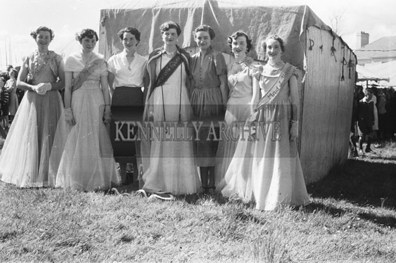 16th May 1954; Miss Mamie Dempsey, The Carnival Queen, And Her Maids Of Honour At The Rathmore Carnival.