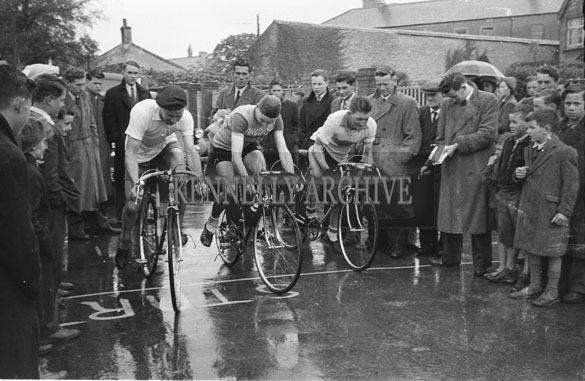 23rd May 1954; The Start Of The Enfield/Caball Cycle Race In Tralee.