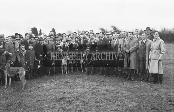 10th January 1954; A Group Of Men With Their Greyhounds At The Kerries And Knockanish Silver Jubilee Open Coursing Day.