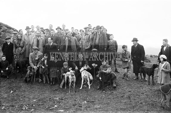 10th January 1954; A Group With Their Greyhounds At The Kerries And Knockanish Silver Jubilee Open Coursing Day.