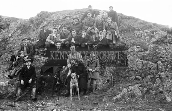 10th January 1954; A Group With Greyhounds At The Kerries And Knockanish Silver Jubilee Open Coursing Day.