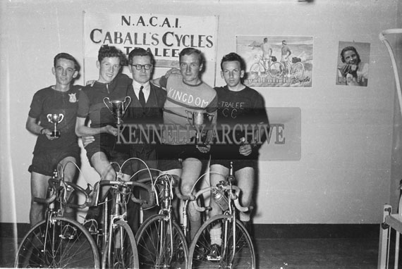 23rd May 1954; Enfield/Caball Cycle Race winners with race organiser Jim Caball. From left: Jackie O'Connor (4th Place), Eddie Lacey (2nd Place), Jim Caball, J Switzer (Winner) and F Roche (3rd Place).