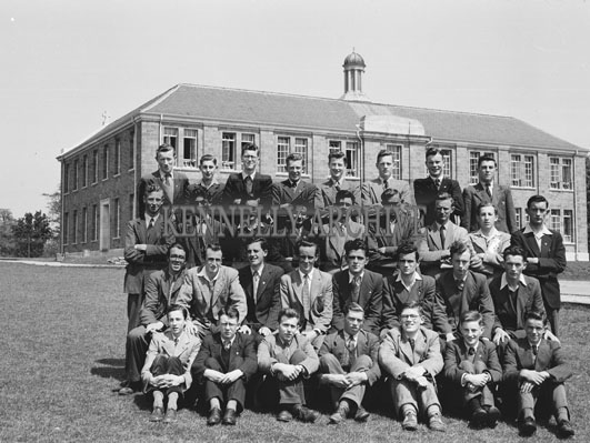 June 1954; CBS The Green Secondary School Students, Tralee, Posing For The Camera Outside Their School.