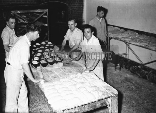 June 1954; Employees Hard at Work At The Barry's Bread Bakery, Rock Street, Tralee.