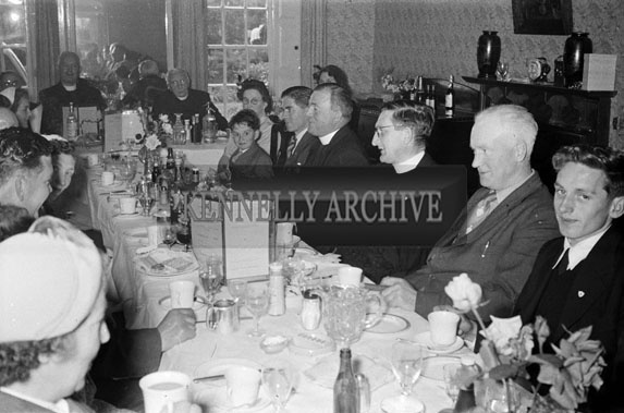 20th June 1954; A Group Celebrating The Golden Jubilee Of Very Reverend Fr D F O'Sullivan By Having Luncheon At The Meadowlands Hotel, Tralee.