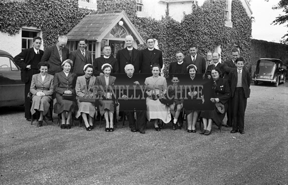 20th June 1954; A Group Celebrating The Golden Jubilee Of Very Reverend Fr D F O'Sullivan At The Meadowlands Hotel, Tralee.