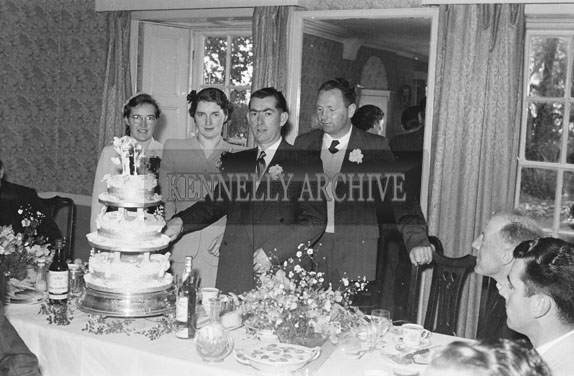 July 1954; The Newlywed Couple Cutting The Cake At Their Wedding Reception At The Meadowlands Hotel, Tralee.