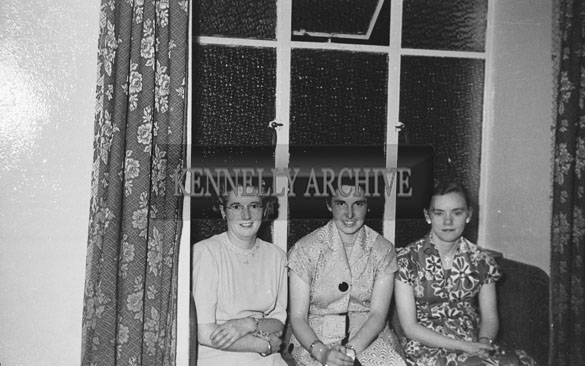 August 1954; Three Ladies Posing For The Camera At The Post Office Presentation And Social In The Meadowlands Hotel, Tralee.